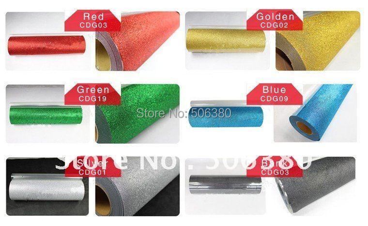 "6 rolls 20""x3' Glitter Heat Transfer Vinyl T-shirt Colors Cutter Plotter Heat Press(China (Mainland))"
