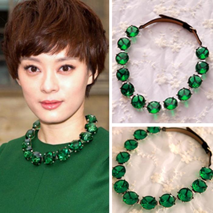 Леди колье себе ожерелье роскошь марка коренастый искусственный драгоценный камень изумруд ожерелье женщины колареш Femininos