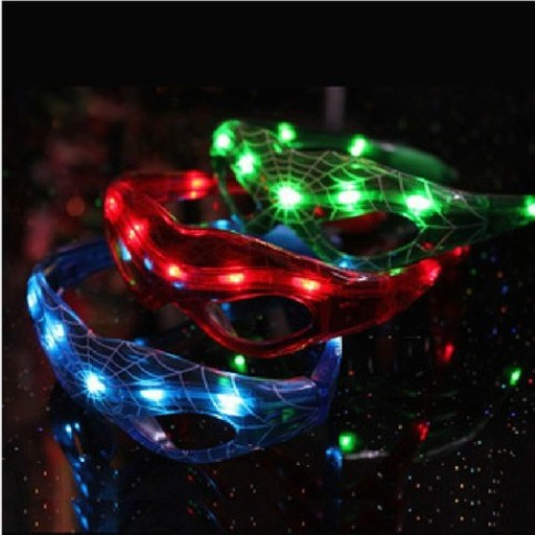flashing glasses Luminous spiderman glasses cool glow dark colorful glow toys children and adult(China (Mainland))
