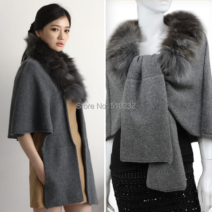 JSFUR Brand Winter Collection 2015 Ladies Scarves Neck Warm Real Natural Silver Fox Fur Scarf Women Kintted Woo Street Fashion(China (Mainland))