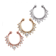 New Arrival Crystal Nose Ring Fake Septum Piercing Hanger Clip On Body Jewelry Nose Hoop(China (Mainland))