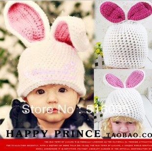 Free Shipping Rabbit shaped Lovely kid's Hats winter baby hat Knitted caps children Keep warm hat(China (Mainland))