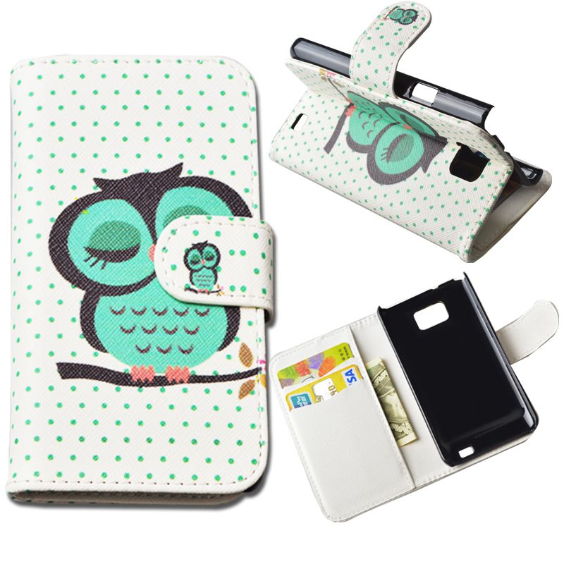 Fashion Flip PU Leather Case For Samsung Galaxy S2 SII i9100 9100 Flip Cover Wallet Phone Cases with Stand Card Holder JR-LR-P(China (Mainland))