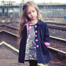 Autumn Winter New Kids Children Girl Fashion Cute Vogue Trench Bowknot Outwear Long Sleeve Button Polka