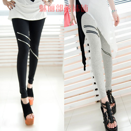 Spring summer female knee zipper legging ankle length trousers lengthen plus size - F-lady store