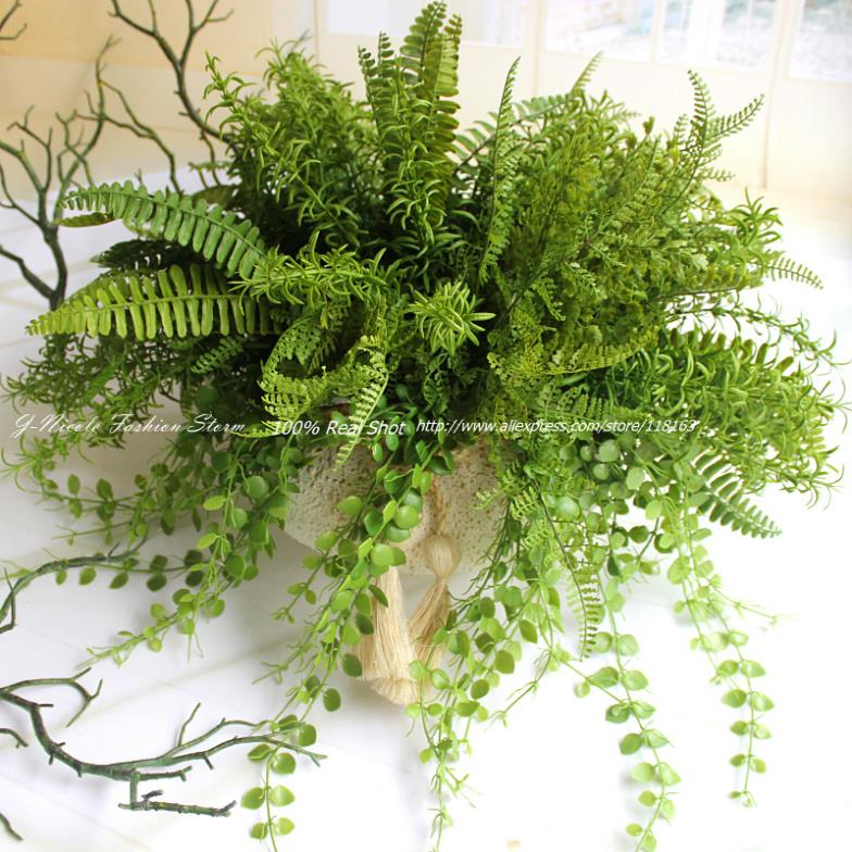 4 types lifelike artificial rustic fresh green leaves bush for Decorative plants for garden
