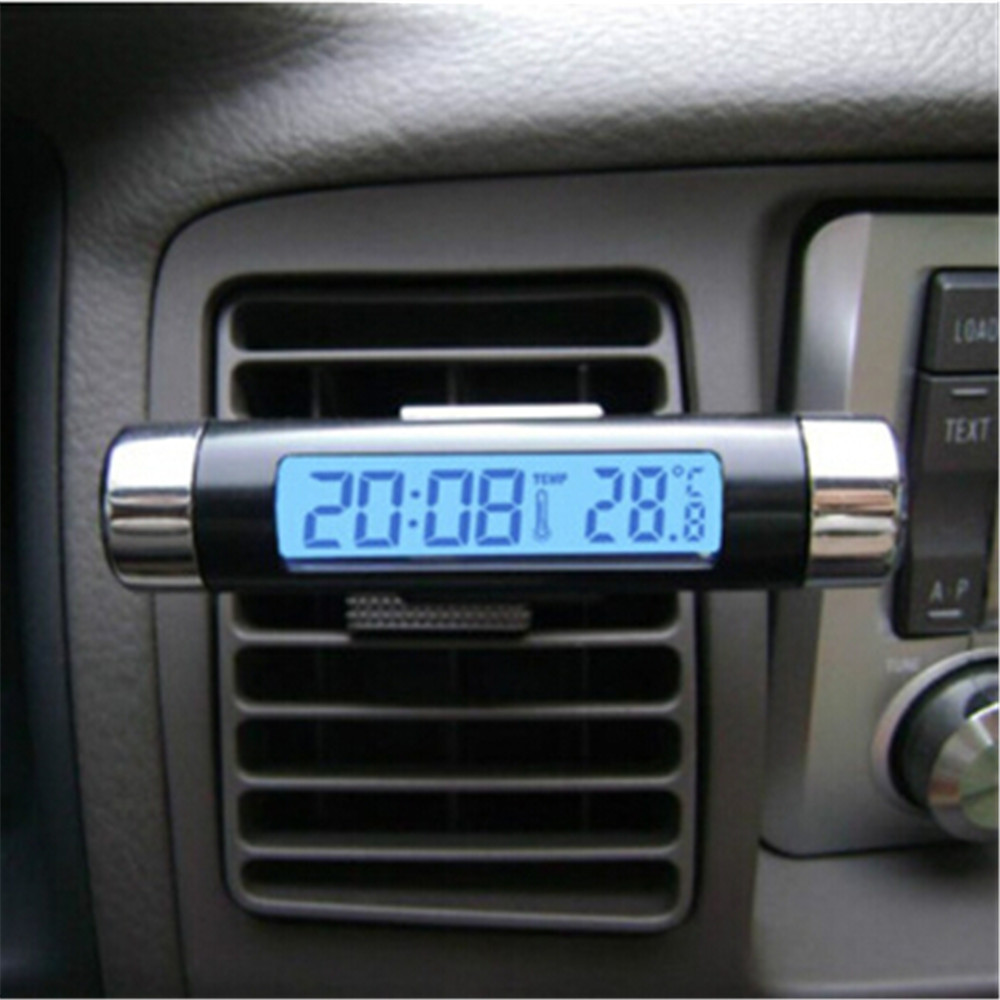 Car electronic watch car electronic clock auto mini clock car outlet luminous Lcd thermometer electronic clock two-in-one(China (Mainland))