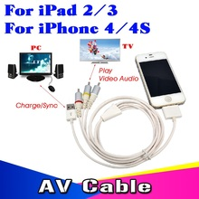 Dock Connector RCA Video Composite AV + USB 2.0 Charger Sync Cable for iPhone 4 4S 3GS for iPod Touch for iPad 1 2 3(China (Mainland))