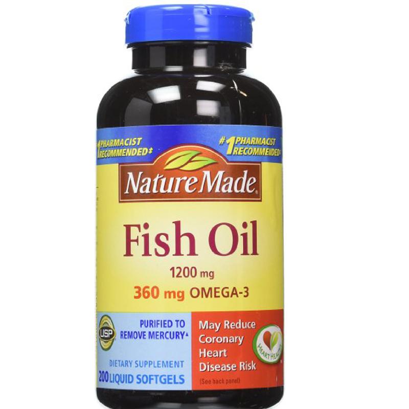 Fish Oil (200 Softgels) Fish Oil Pills (1200mg Fish Oil Concentrate, 360mg of Omega 3 Fatty Acids, 180mg EPA, 120 mg DHA)(China (Mainland))
