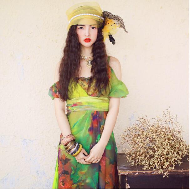 fancy colorful maxi dresses vintage floral women plus size elegant embroidery desigual off-shoulder Bohemian dress - Beauty Dresses Store store