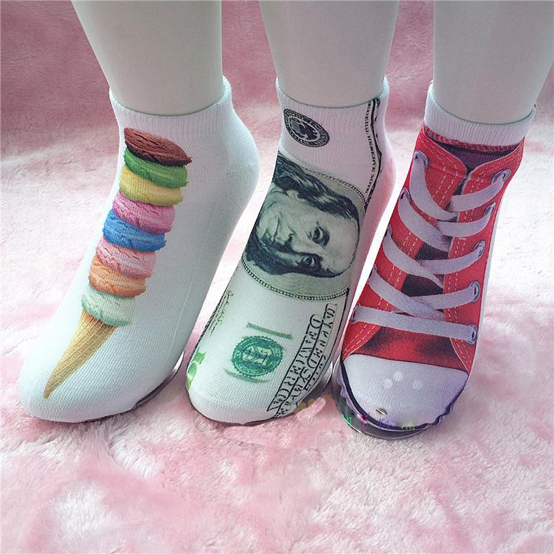 1 Pair Of New Unisex Men Women Fashion Low Cut Ankle Socks Cotton Kawaii 3D Printed Fashion Asia Style(China (Mainland))