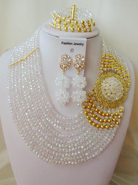 2016 Fashion Nigerian Wedding African Beads Jewelry Set  Crystal Beads Necklace Set  ZWO-00142<br><br>Aliexpress