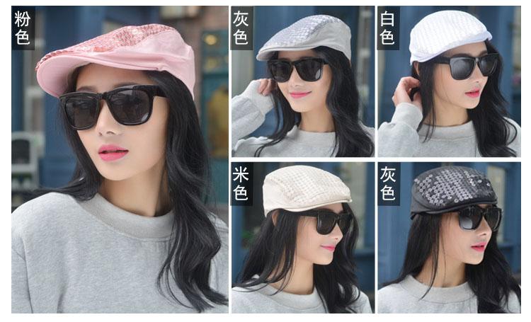 2Pcs Fashion Lady Summer Sequin Beret Peaked Cap Hat