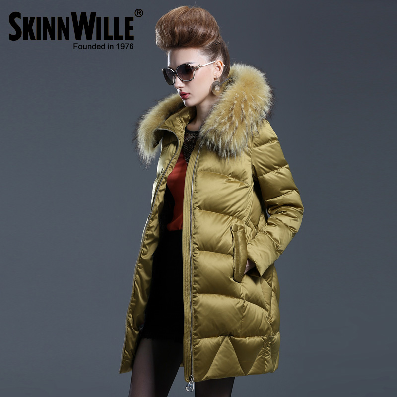 2015 new heat winter Thicken Warm Woman Down jacket Coat Parkas Hooded Raccoon Fur collar Loose Luxury plus size 2XXL Mid long(China (Mainland))