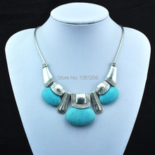 N10 Green Turquoise Stone Natural Stone Necklace Pendant Jewlery Women ,Vintage Look,Tibet Alloy, free shipping, wholesaler