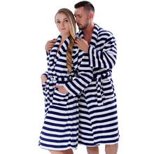 Men Women Plus Size Coral Fleece Navy Stripe Warm Bath Robe Pyjama Dressing Gown Sleepwear Bathrobe For Couples(China (Mainland))