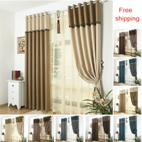 Modern minimalist solid color blackout curtains for living room bedroom home textile tulle sheer curtain