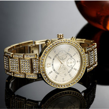 Top Luxury Rhinestone Bracelet Watch Women Watches Gold Watch Full Steel Quartz Watch Clock Hour montre femme relogio feminino