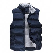 Zipper & Snap Placket Winter Man Casual Vest Plus Size M-2XL 2015 Brand New Pocket Design Mandarin Collar Men Warm Waistcoat(China (Mainland))