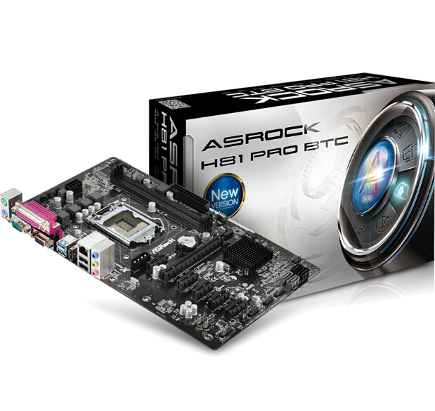 100% new original motherboard for ASRock H81 Pro BTC LGA 1150 DDR3 16GB for 22nm USB3.0 H81 Desktop motherborad Free shipping(China (Mainland))