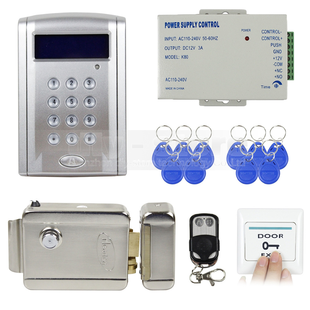 Remote Controlled RFID Door Lock Access Control System Kit + Electric Lock Brand NEW Free Shipping(China (Mainland))
