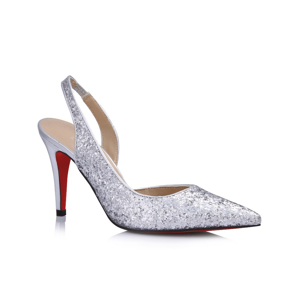 free shipping silver sequin pointed toe sole slingback
