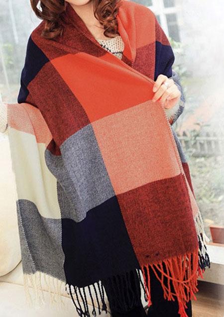 Free Shipping Women Wool Blend Tassels Plaid Checks Warm Lattices Winter Ex Long Soft Scarf Wrap Purple Plaid Red Plaid(China (Mainland))