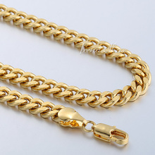 6MM Customized 18 36INCH Curb Cuban 18K Gold Filled Necklace MENS Boys Chain Promotion High Quality