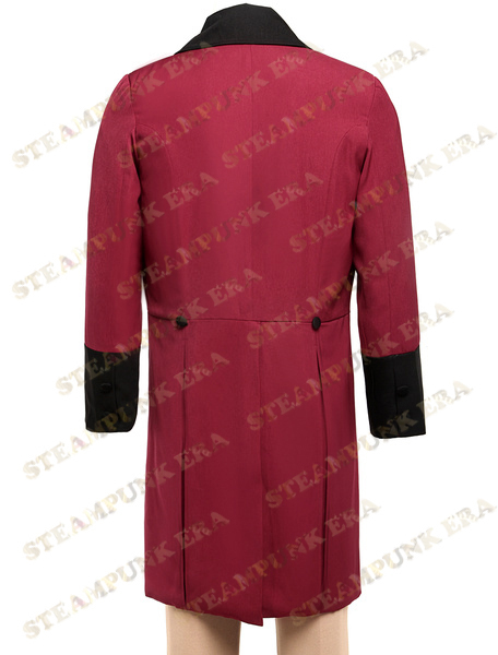 Trendy Crimson Swallow-tailed Steampunk Coat For Men