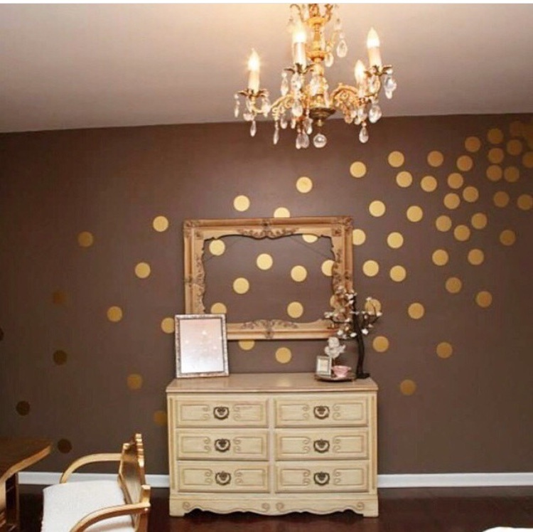 Metallic Wall Decals Metallic Gold Polka Dot Wall Decals