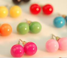 hot fashion wild QQ candy colored ball earrings DIY Jewelry Wholesale lovely lady love Imitation ball stud earrings for women(China (Mainland))