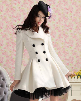 Free Shipping 2013 Red Black White Wool Dress Coats Women Double Breasted Peacoat Elegant Swing Ladies Winter Clothing WC071