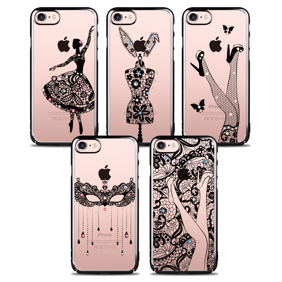 For iPhone 7 Case Swarovski Coloured Diamond Cases PC Material Light Tough Romantic For iPhone 7 Plus Cover ICONFLANG brand(China (Mainland))