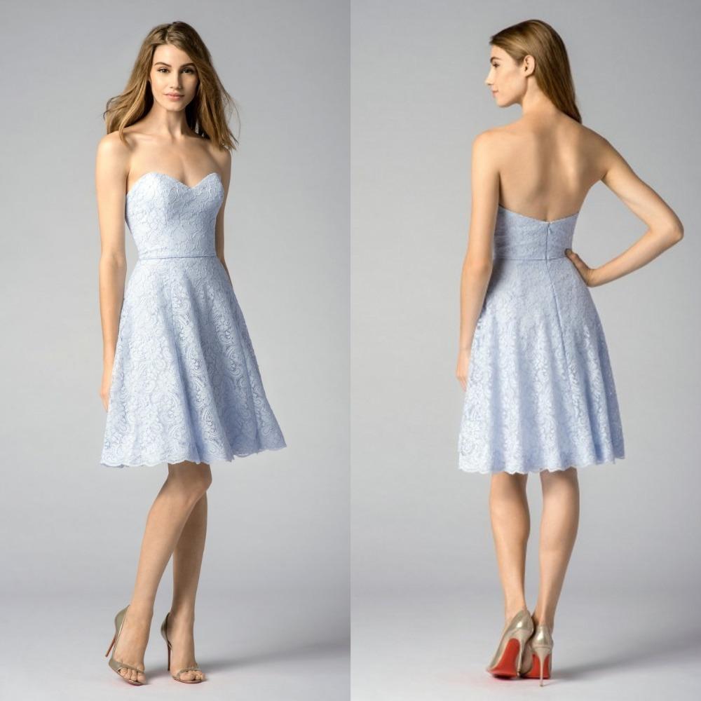 Light Blue Lace Bridesmaid Dresses Short Sweetheart Knee Length Convertible Bridesmaid Dress Backless Party Dress for Wedding(China (Mainland))