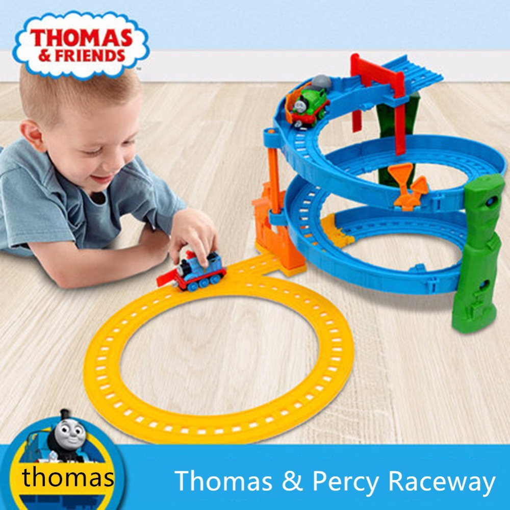 Thomas and friends Thomas & Percy Raceway Rotating track suit BHR97 Thomas alloy track series of children's toys(China (Mainland))