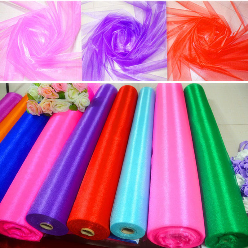 2015 New 1.45*5M Sheer Crystal Chenille Organza Fabric Roll 18 Colors Wedding Party Decoration Tulle Organza Fabric(China (Mainland))