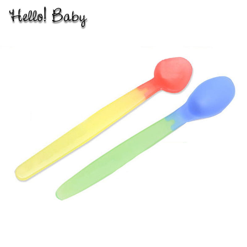 2 pcs lot Hot Heat Temperature Sensing Spoon Flatware Weaning silicon font b Feeding b font