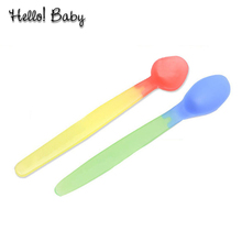 2 pcs/lot Hot Heat Temperature Sensing Spoon Flatware Weaning silicon Feeding baby spoon