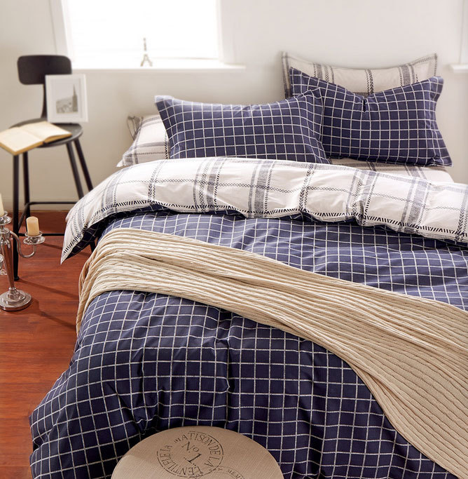 Здесь можно купить  European single double plaid bedding sets teenager,twin full queen king cotton home textiles flat sheet pillow case duvet cover  Дом и Сад