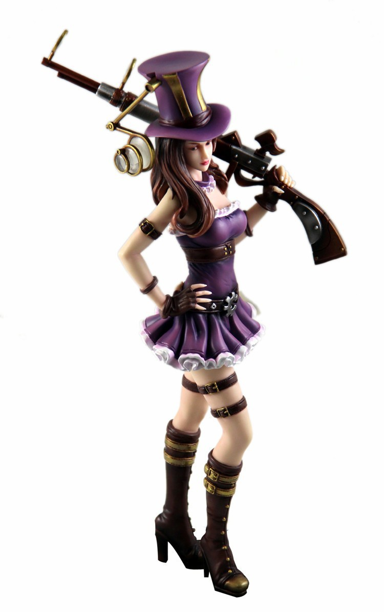 New hot sale Game anime figure PVC doll toy LOL League City policewoman Paper City policewoman Caitlin 23CM free shipping(China (Mainland))