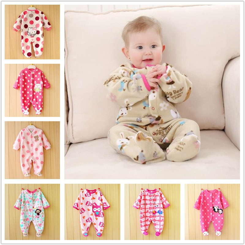 0 12M Autumn Soft Fleece Rompers Cute Pink Newborn Baby Girls Clothing Infant Baby Jumpsuits Footed