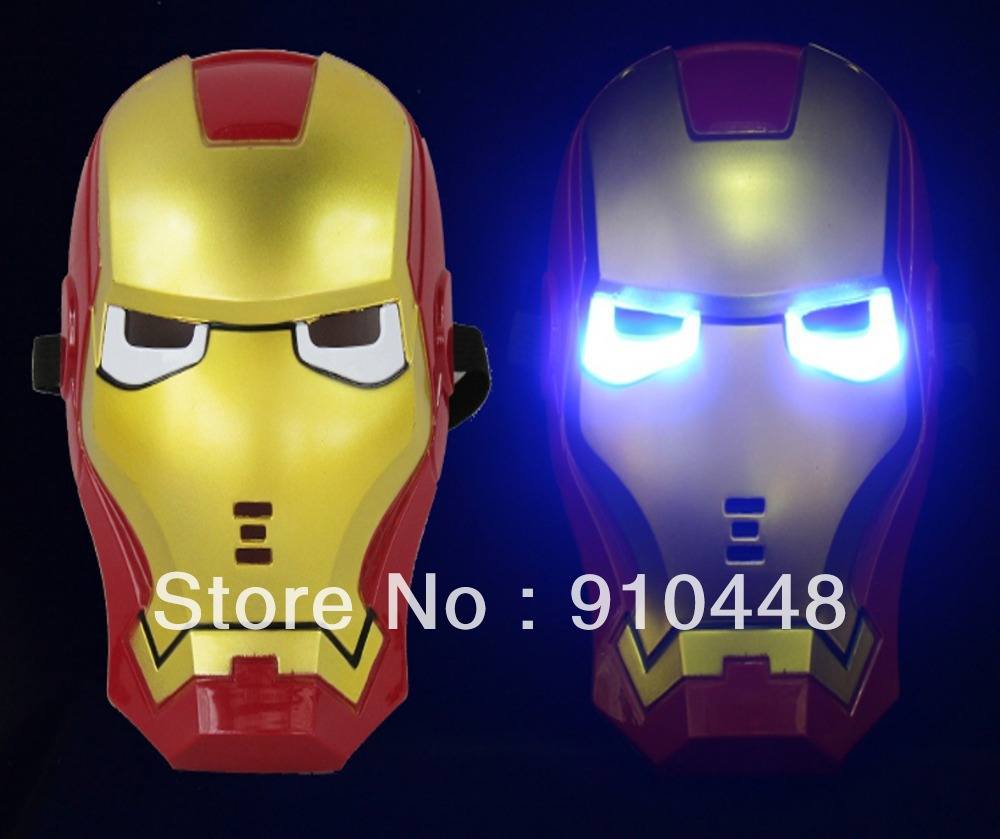 Free shipping Christmas Gift 2pcs/lots LED Glowing Light Iron Man Mask for Masquerade Party Halloween Party and Birthday Party(China (Mainland))