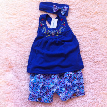 Retail baby girl clothes high quality baby blue clothing set vest+short pants + had band infant clothing