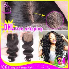 7A Cheap Silk Base Closure Brazilian Hair 4x4 Body Wave Free/Middle/3 Part Silk Base Closures With Baby Hair Silk Top Closures(China (Mainland))