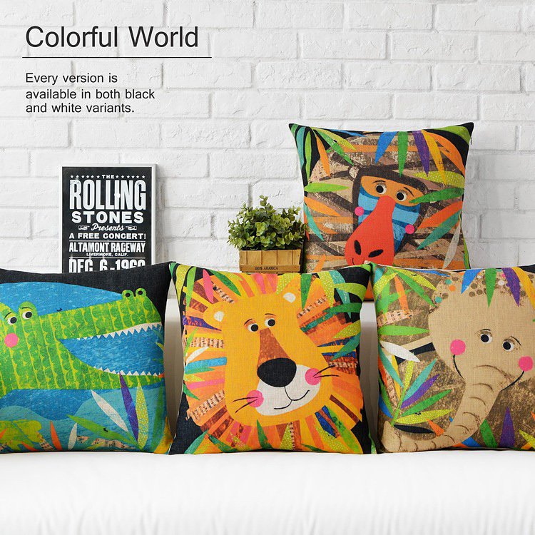 Custom made Colorful creative Decorative Throw Pillows cartoon zoo Cushion Cover soft and cozy Cushions For Sofas free shipping