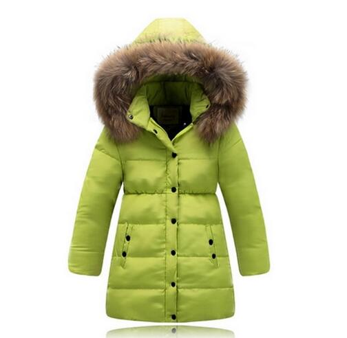 2016 NEW fashion girls High quality natural hair collar hooded kids winter jacket children's down jacket for girls winter coat(China (Mainland))