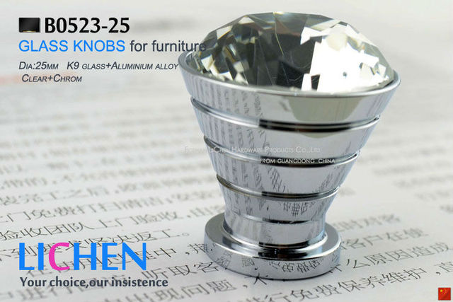 25mm LICHEN K9 Glass Knobs aluminium knobs diamond Crystal Furniture Handle diamond knobs& Cabinet &Drawer Knob