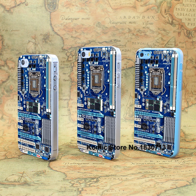 Blue Computer Motherboard Design hard transparent clear Skin Cover Case for iPhone 4 4s 4g 5 5s 5g 5c(China (Mainland))