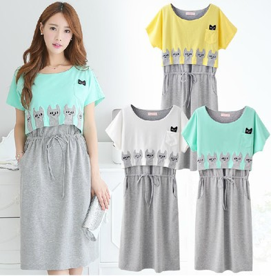 Maternity Dress Breastfeeding Cotton Roupa Gestante Clothing Summer Dress Nursing Clothes For Pregnant Women 2015 New Plus size(China (Mainland))