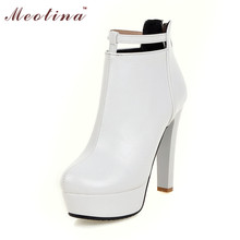 Buy Meotina Women Ankle Boots Shoes Women Sexy Platform High Heels Boots Martin Boots Fall Winter Ladies Shoes White Red Big Size 45 for $25.20 in AliExpress store